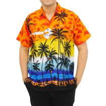 Camisa La Leela P/bailador Hula Playa C/palmeras Naranja 3xl