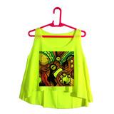 Cropped Roupas Femininas Verde Limão Desenho Colorido