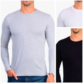 Camisa Camiseta Blusa Masculina Manga Longa Slim Fit Algodao