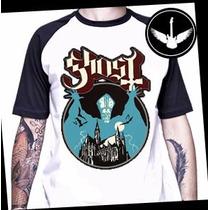 Camiseta Raglan Ghost Banda Rock Heavy Metal Blusa Camisa