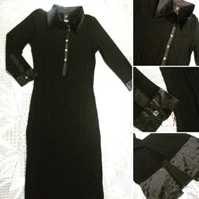 Vestido Largo Mangas Largas Negro Combinado Con Razo