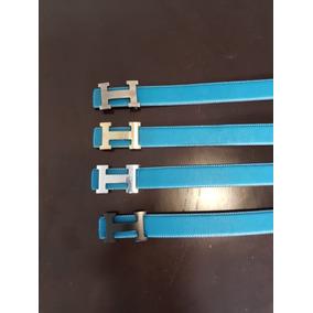 Cinturon Caballero Hermes Azul Distintas Texturas Hebillas