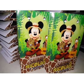 25 Sacolinha Surpresa Mickey Safari Lembrancinha Aniversário