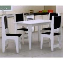 Jogo De Mesa Para Cozinha Com 4 Cadeiras Estofadas