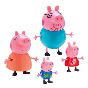 Miniaturas Família Peppa Pig George Papai Mamãe 4 Peças