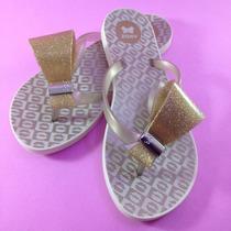 Chinelo Zaxy Fresh Enjoy Dourado Glitter By Dream Store