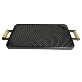 Chapa Bifeteira Dupla Face Grill/lisa 45x25cm Ferro Fundido