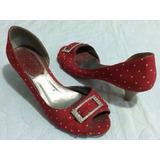 Sapato Sandália Peep Toe 36 Vermelha Bolinha Poá Strass Salt