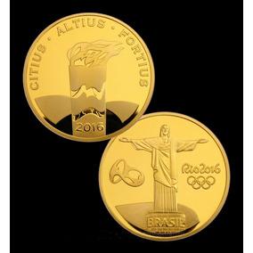 Moeda Tocha Olímpica Olimpiadas Rio 2016 1 Medalha Revestida