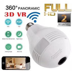 Camera Ip Panoramica 2mp Seguraça Lampada Vr 360 Espia Wifi