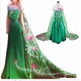 Fantasia Vestido Elsa Frozen Fever Luxo Longa Pronta Entrega