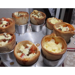 24 F.pizza Cones 13cm+2 Bases P/ Assar+10 Suportes P/ Servir