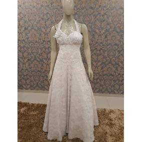 Vestido Noiva Branco Renda Frente Única Flores Cn-09