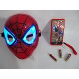 Máscara Homem Aranha Led+celular 3d+acessorio E Pilhas !