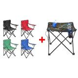 4 Sillones Director + Mesa De Camping Plegable Con Funda