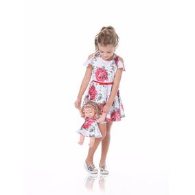 Vestido Infantil Criança + Roupa De Boneca Gabriela Aquarela