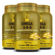 Kit 3x Omega 3-6-9 Peixe+linhaça+borragem 120caps