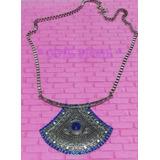 Maxi Colar Comprido Tribal Strass Cristal Azul Royal