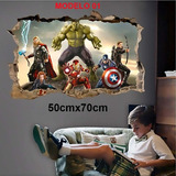 Adesivo De Parede Avengers / Vingadores - Buraco 3d Marvel