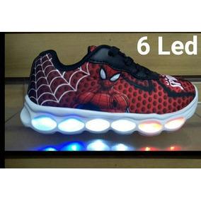 Tênis Homem Aranha 6 Leds Com Luzes De Led Lançamento