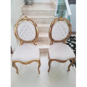 Cadeiras Antigas Luis Xv Medalhão Duplo Folheadas A Ouro