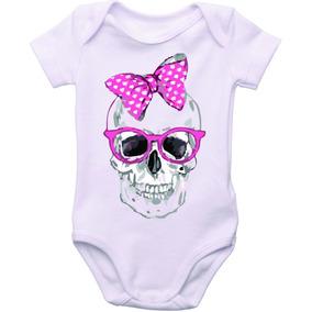 Body Bebê Menina Caveira Com Laço Rosa