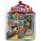 Set Escolar Con Stickers D/ Masha Y El Oso Klm 02915