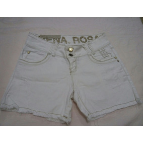 Short Bermuda Jeans Branco Morena Rosa Original N.40elastano