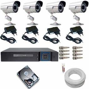 Kit Completo 4 Cameras De Seguranca C/ Gravador Digital Dvr
