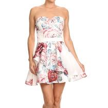 Vestido Strapple Floreado Doble Olan Importado Moda Fashion