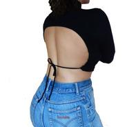 Blusa Cropped Costas Aberta Decote Recorte Amarrar Open Back