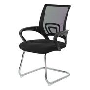 Cadeira Escritório Basic Diretor Fixa Preta Base Cromada