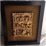 Cuadro Antiguo Chino Tallado En Madera Con Hoja De Oro