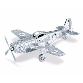 Rompecabezas Miniatura 3d Metálico Avión Mustang