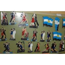Imanes Argentina 8 Unidades Tango De Metal Pintado Barnizado