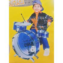 Bateria Musical Infantil (vermelha Ou Azul) - Dm Toys