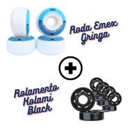 Rodas Skate Emex 53mm Importada + Rolamento Kolami Black