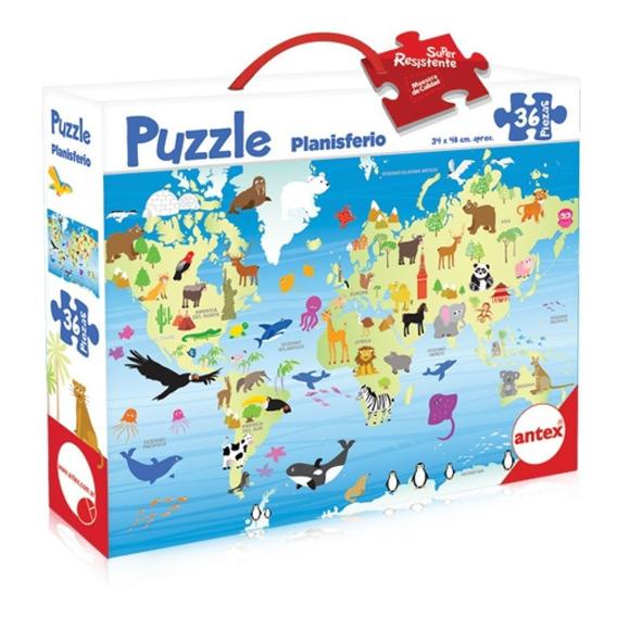 Puzzle Rompecabezas Didactico Planisferio 36 Piezas Antex