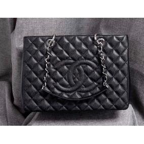 Bolsa Chanel Shopper Couro Caviar Silver Feminina