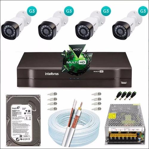 Kit Cftv 4 Câmeras Vhd 3130b Dvr 8 Canais Intelbras 1008 G3