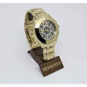 c0c29b6e1f0 Relogio Victor Hugo Masculino Dourado Com Preto - Relógios De Pulso ...