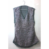 Vestido De Lana Tejido Crochet, Gris, Ideal Jean O Calza