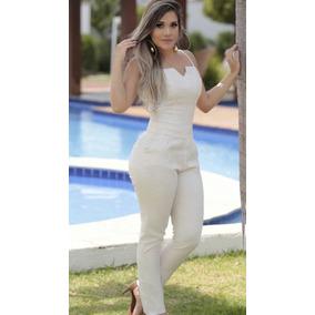 Macacão Alça Longo Cor Off Moda Blogueira Instagram