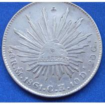 Moneda México 8 Reales 1861 Ch Excelente Estado