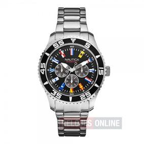 Nautica Reloj Color Plata Redondo 100% Original
