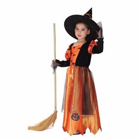 Fantasia Infantil Menina Bruxa Abóbora Halloween Importado