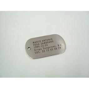 Placa Militar Identificacion Dogtag Grabado Y Envío Gratis
