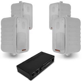 Kit Som Ambiente Hayonik Ambience 4000 Branco Usb Bluetooth