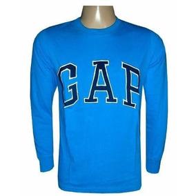 Camiseta Gap Manga Longa Azul Céu G8