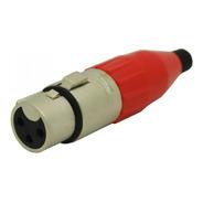 Ficha Xlr Hembra Cable Canon Rojo Amphenol Ac3f-red